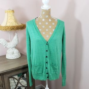 Anthropologie CAbi green button down cardigan